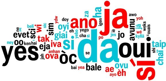 Oui dans toutes les langues, nuage de mots